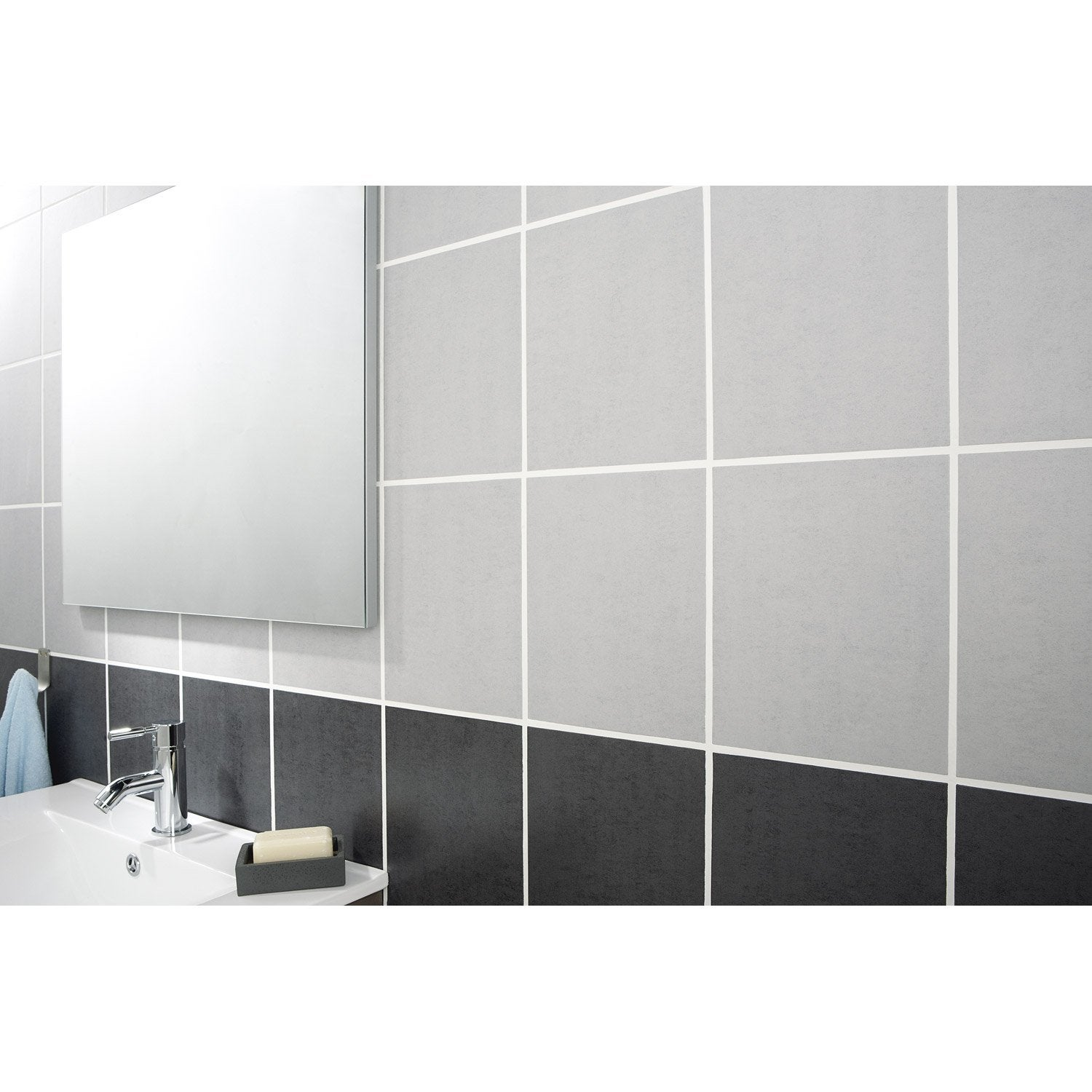 Fa ence mur gris clair fly a ro x cm leroy merlin for Carrelage 90x90 gris clair