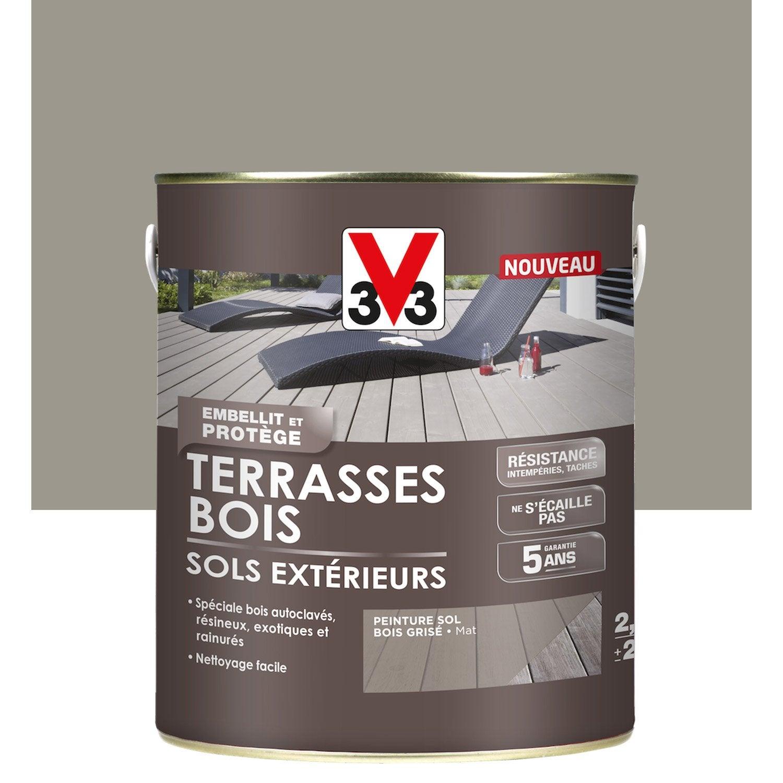 Peinture sol ext rieur terrasse bois v33 gris - Peinture grise leroy merlin ...