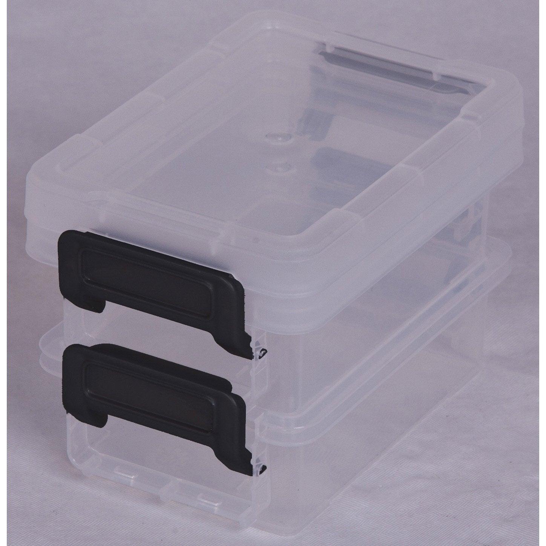 Bo te de rangement little box en plastique l 8 2 x p 12 - Boite rangement leroy merlin ...