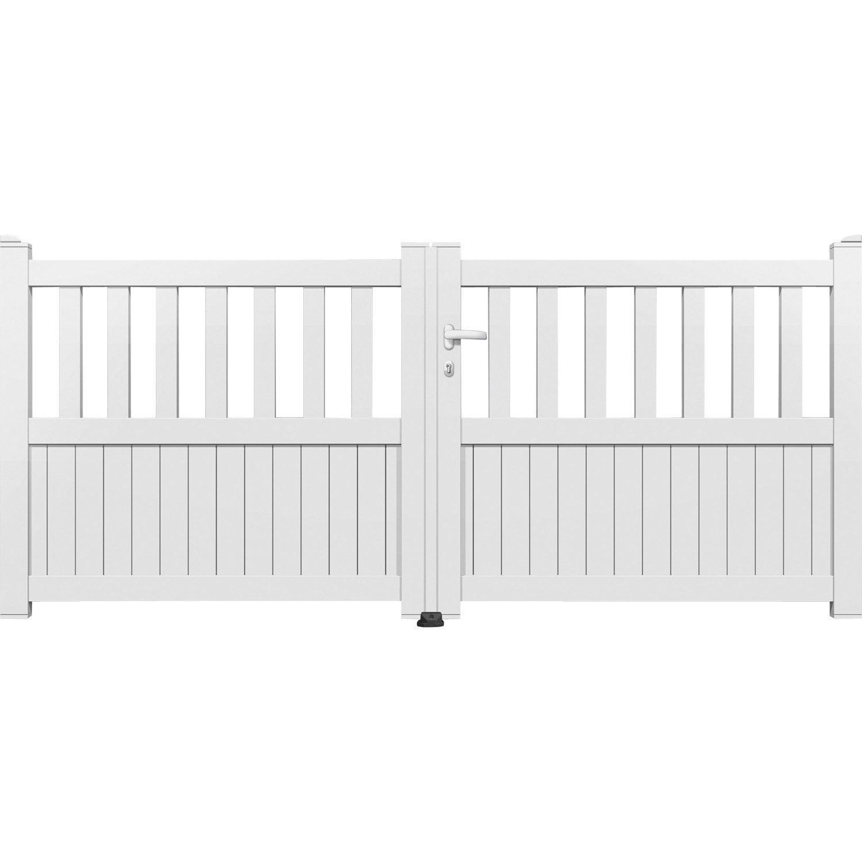 portail battant aluminium cairo blanc primo cm x cm leroy merlin. Black Bedroom Furniture Sets. Home Design Ideas
