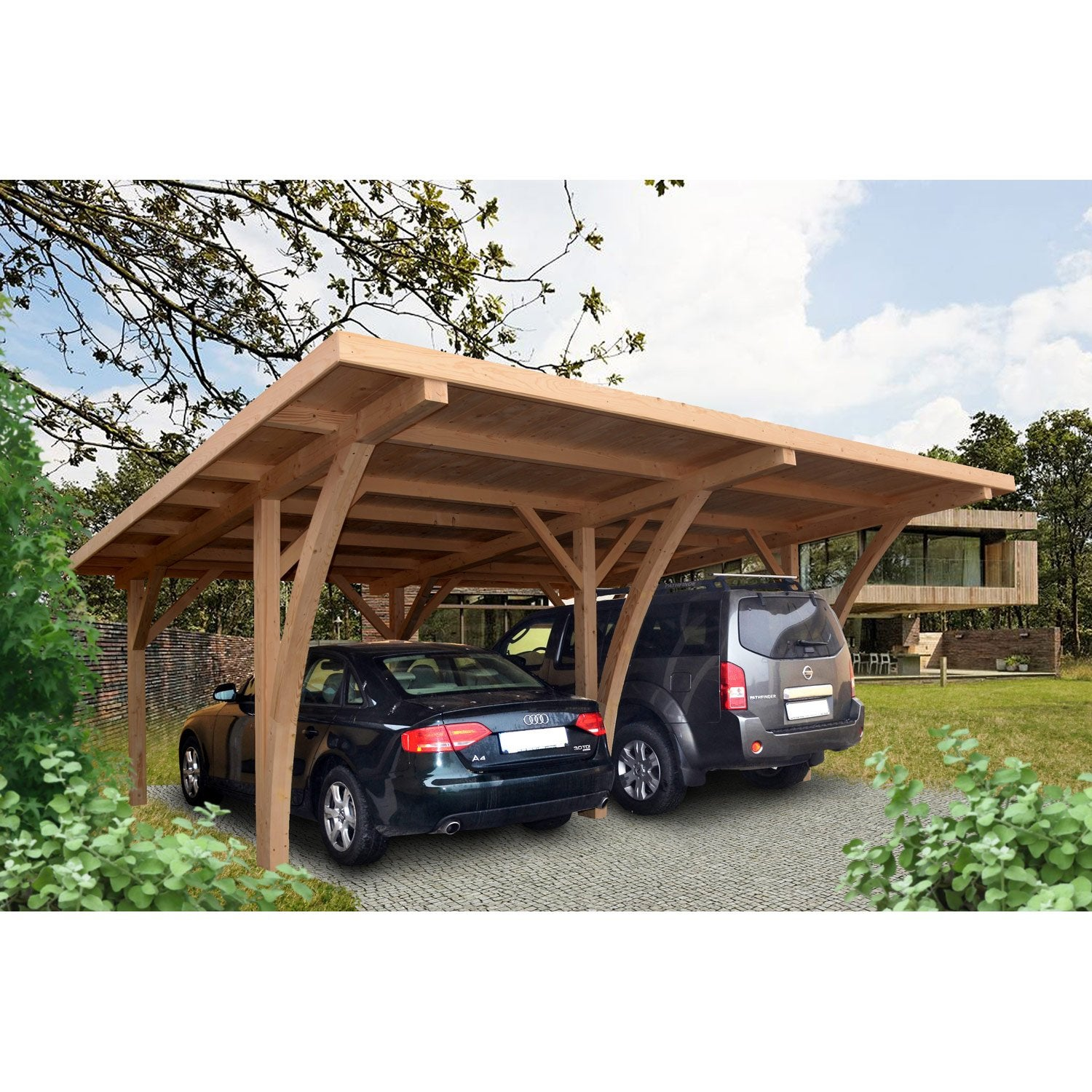 carport bois grancey 2 voitures 32 m leroy merlin. Black Bedroom Furniture Sets. Home Design Ideas