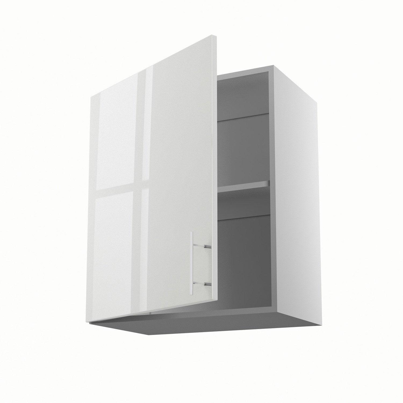 Meuble de cuisine haut blanc 1 porte rio x x p for Meuble 60 cm largeur