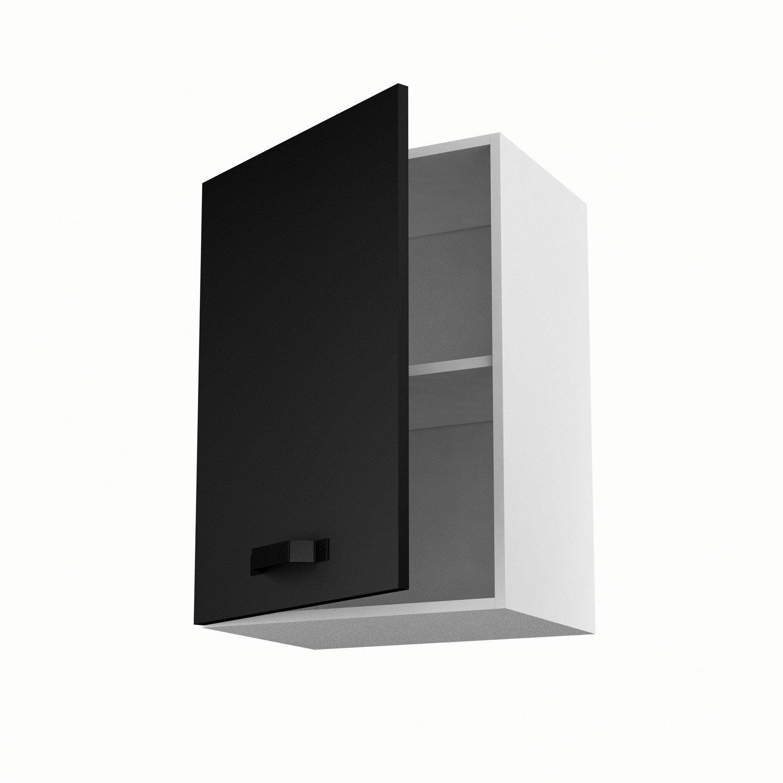Meuble de cuisine haut noir 1 porte mat edition x l for Meuble tv haut noir