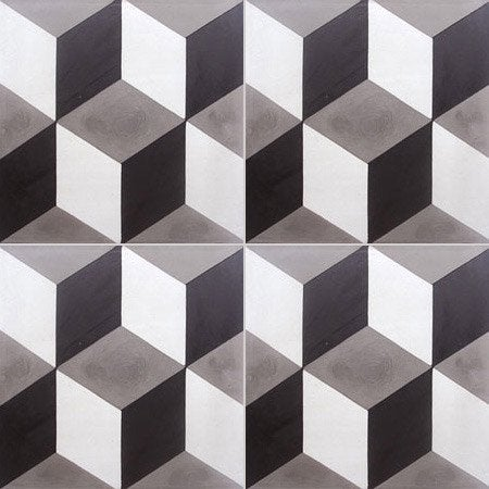 Carreau de ciment sol et mur blanc et noir 3d x - Sol pvc imitation carreaux de ciment ...