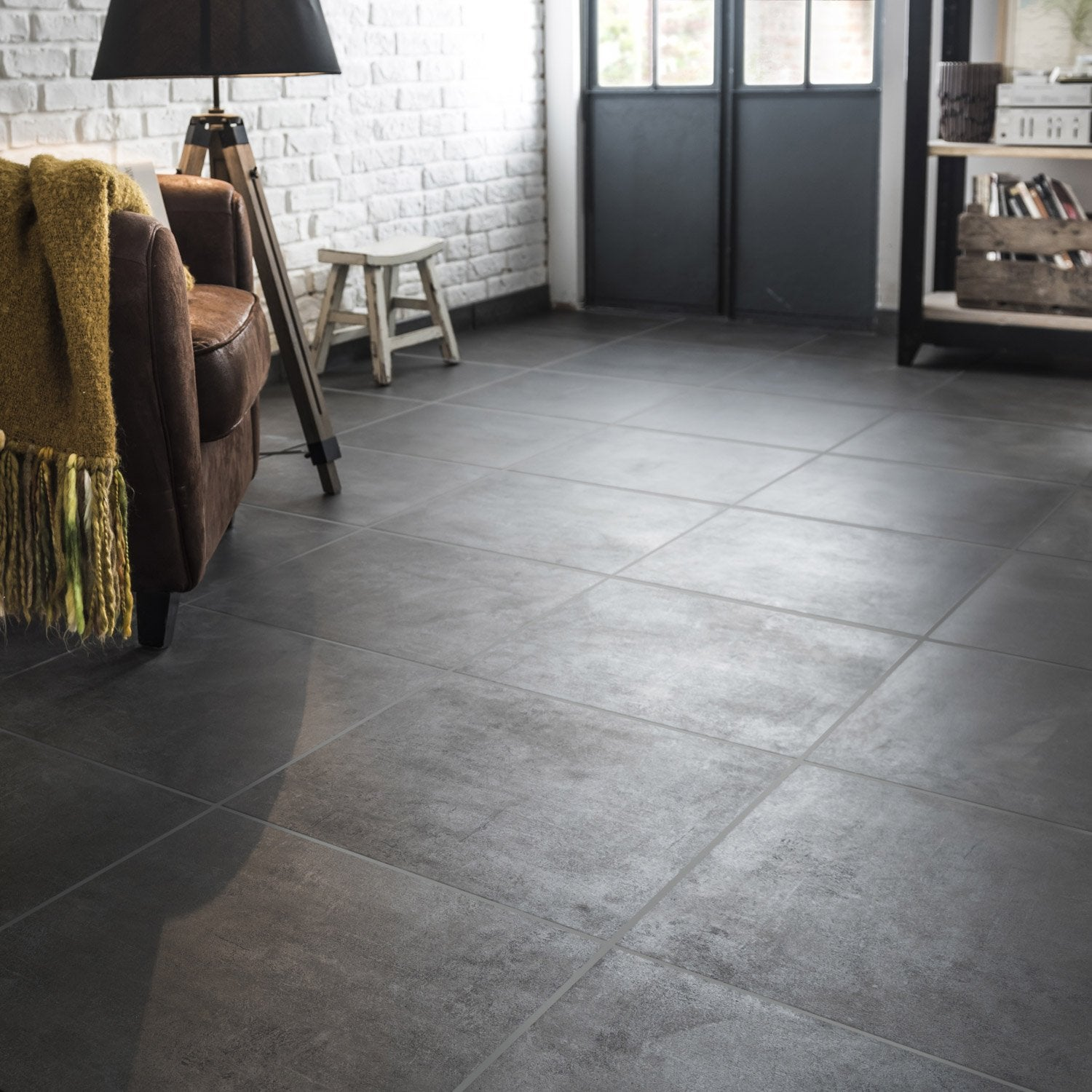 Carrelage sol anthracite effet b ton alma x cm for Carrelage 60x60 gris anthracite