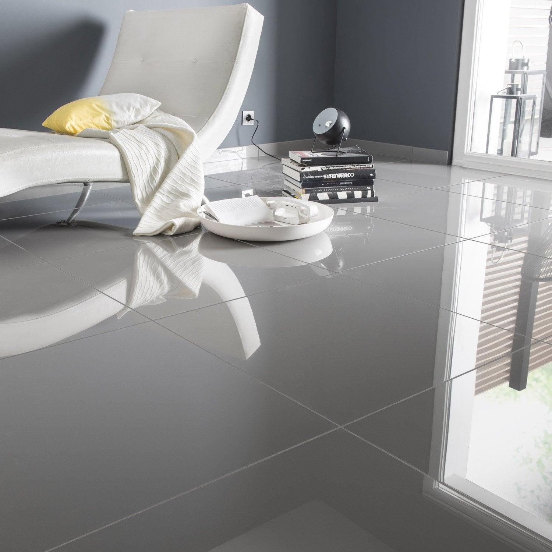 Carrelage sol et mur gris effet uni crystal x cm - Carrelage sol gris clair brillant ...
