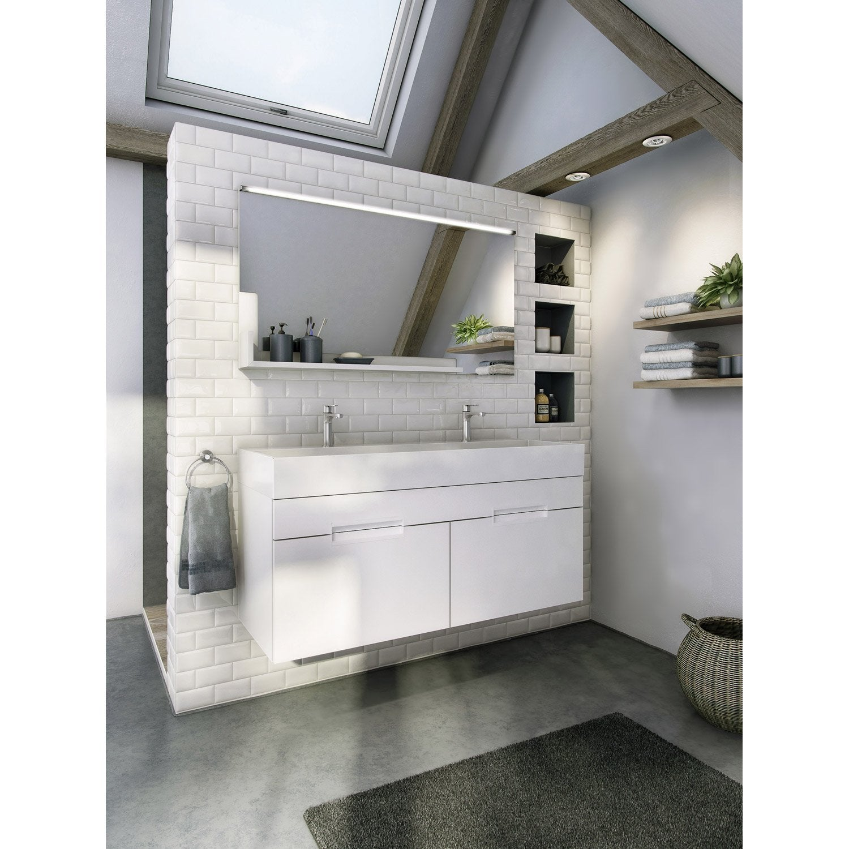 Meuble de salle de bains plus de 120 blanc beige naturels eden leroy merlin - Meuble salle de bain beige ...