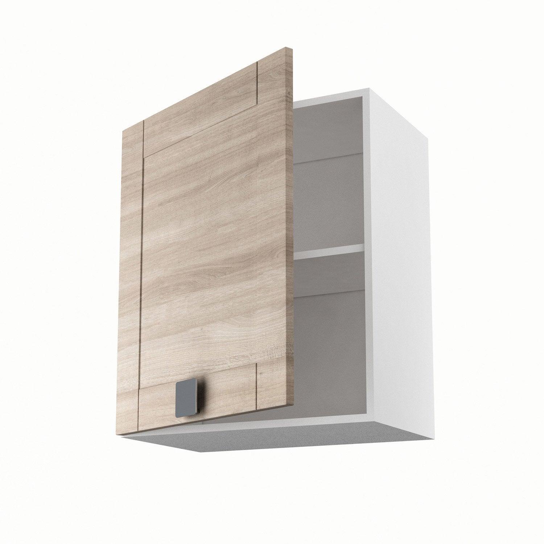 Meuble de cuisine haut d cor ch ne blanchi 1 porte karrey for Facade porte meuble salle de bain