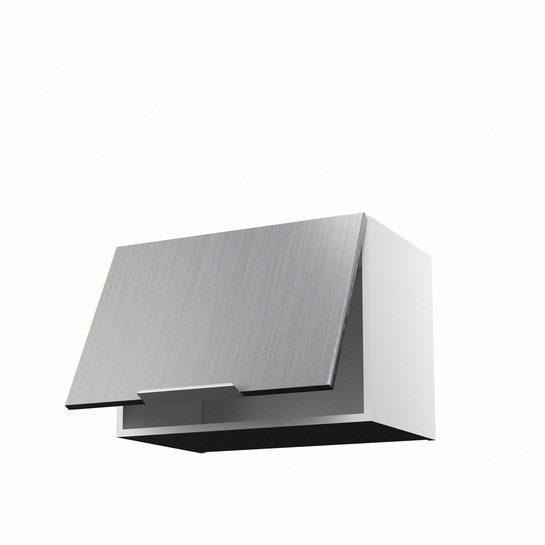 Meuble de cuisine haut sur hotte d cor aluminium 1 porte for Meuble sur hotte