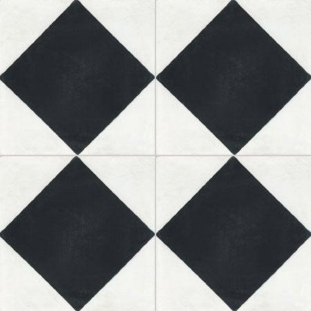 Carreau de ciment sol et mur blanc et noir losange x for Carrelage damier noir et blanc 20x20