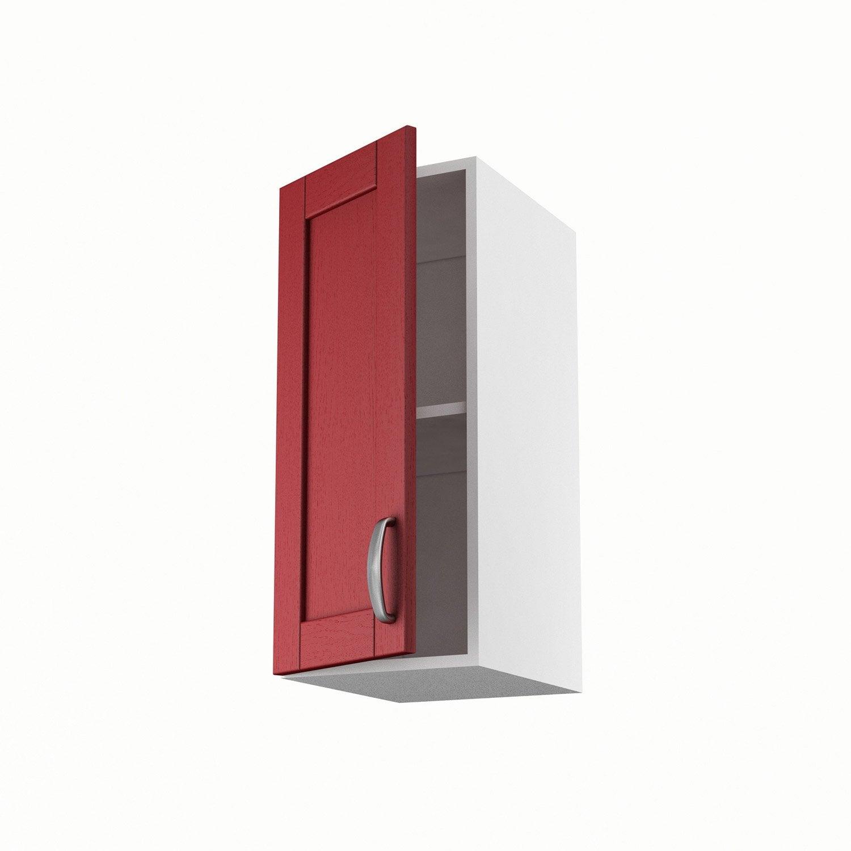 Meuble de cuisine haut rouge 1 porte rubis h70xl30xp35 cm for Meuble 70x30