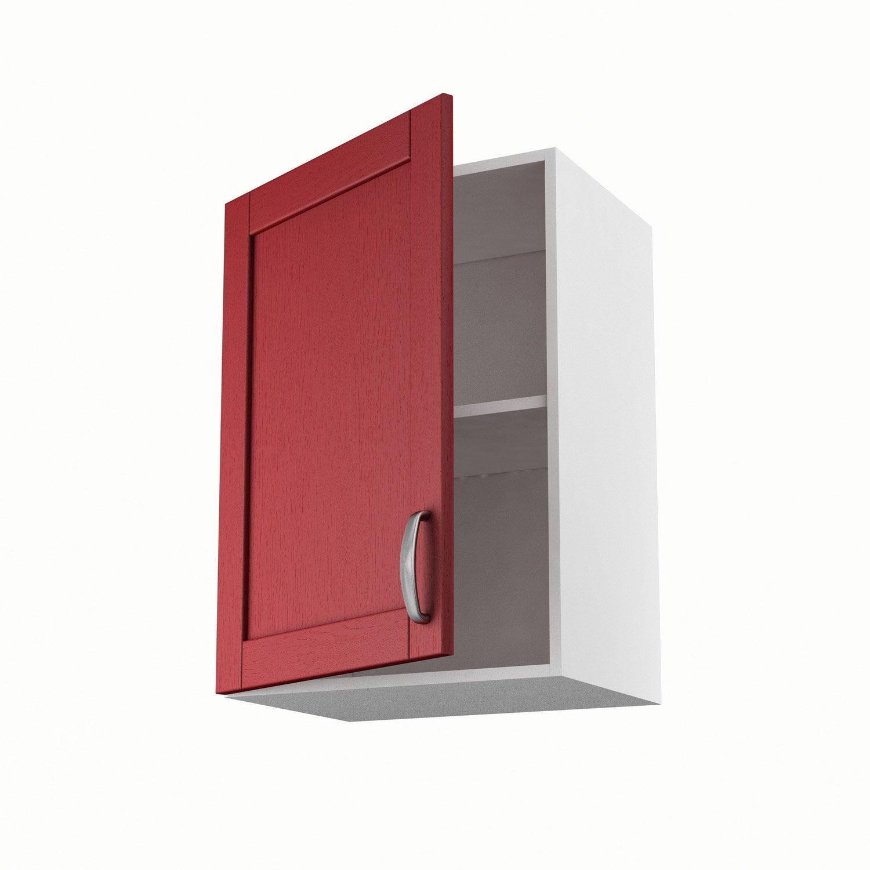 Meuble de cuisine haut rouge 1 porte rubis x x p for Meuble haut cuisine 50 cm