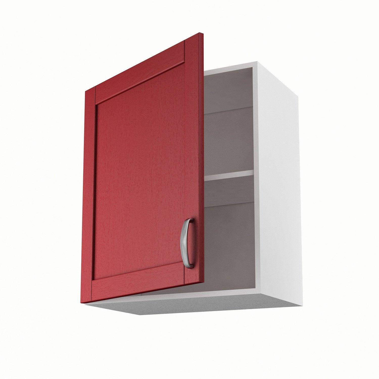 Meuble de cuisine haut rouge 1 porte rubis x x p for Porte 60 x 50