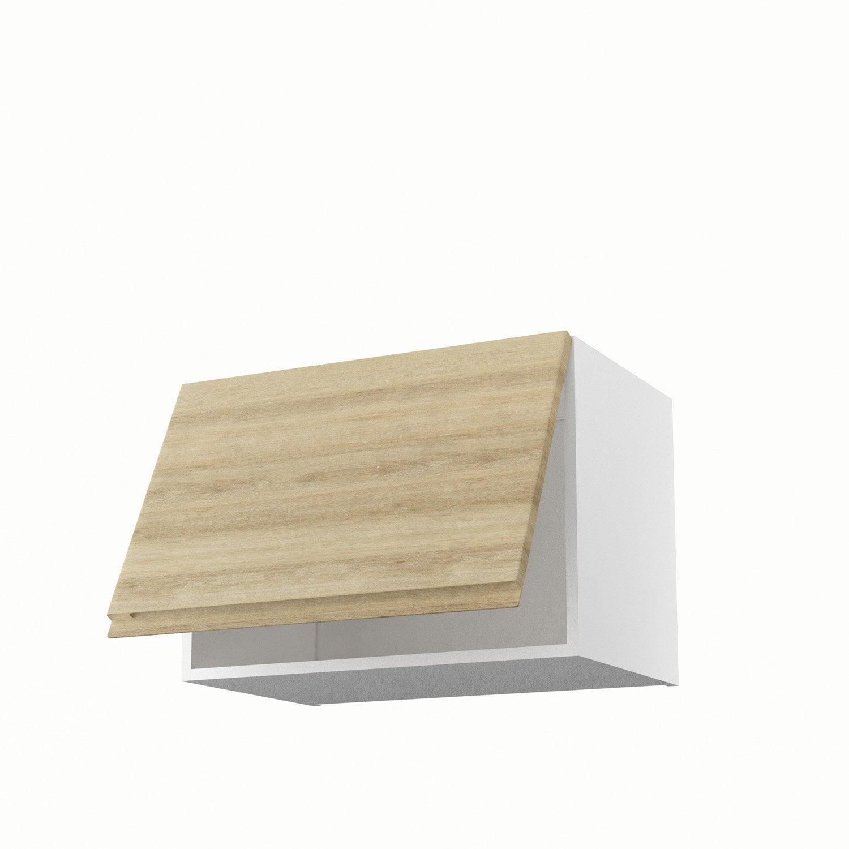 Meuble de cuisine haut sur hotte d cor ch ne 1 porte for Porte 60 x 60