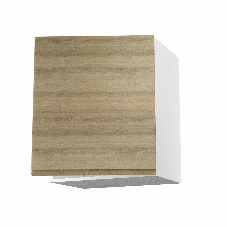 Meuble de cuisine haut d cor ch ne blanchi 1 porte graphic for Meuble bureau 60 x 60
