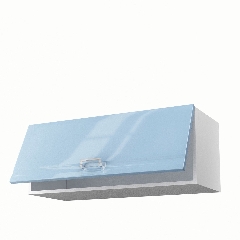Meuble de cuisine haut bleu 1 porte crystal x x for Placage porte meuble cuisine