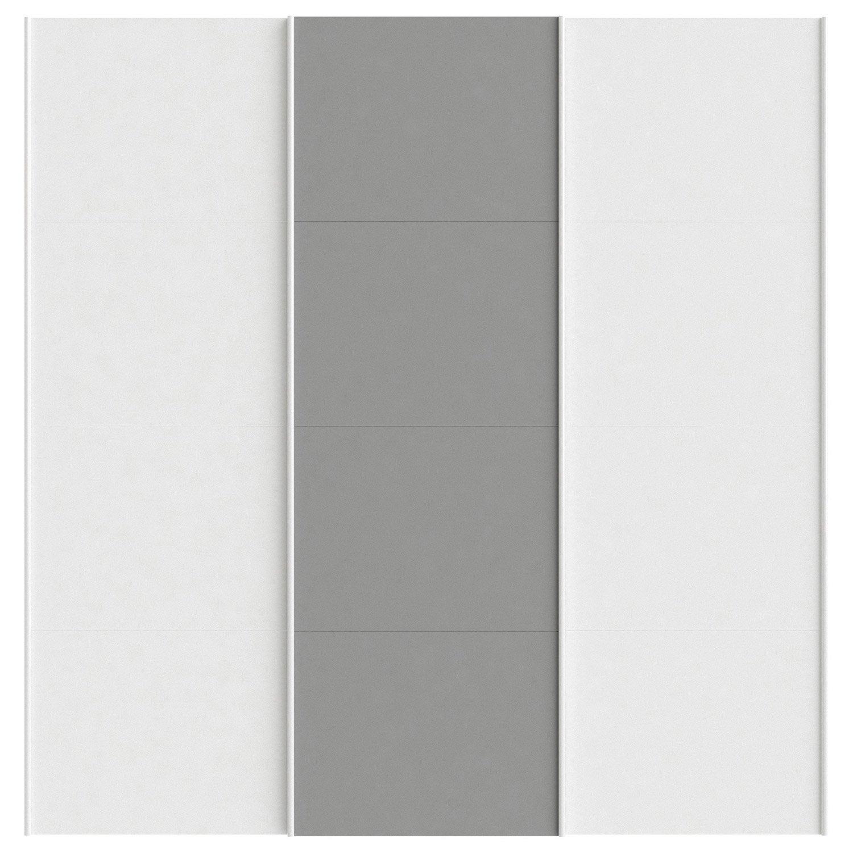 Lot de 3 portes coulissantes spaceo home 240 x 240 x 15 cm blanc leroy merlin - Porte coulissante 240 ...