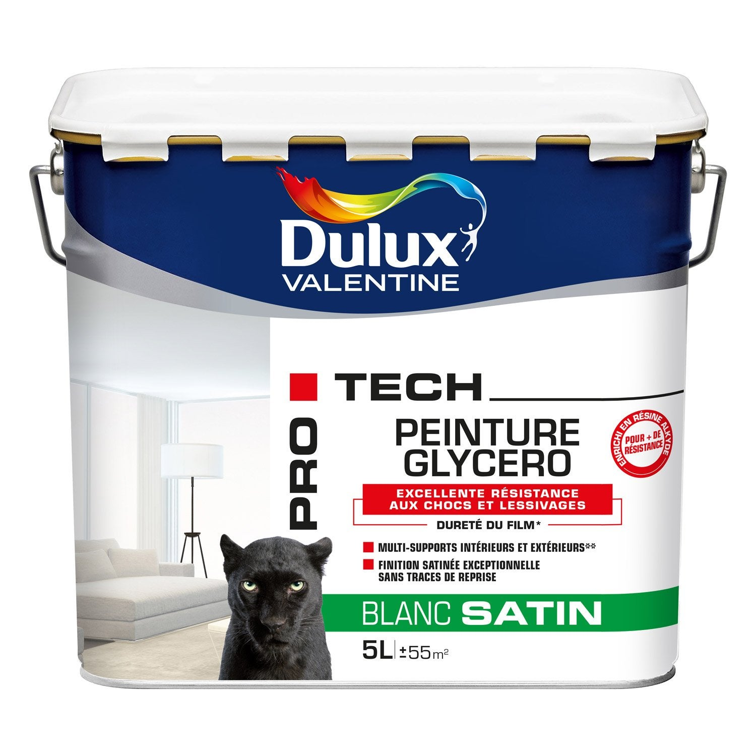 peinture blanche mur et plafond pro tech glycero dulux valentine satin 5 l leroy merlin. Black Bedroom Furniture Sets. Home Design Ideas