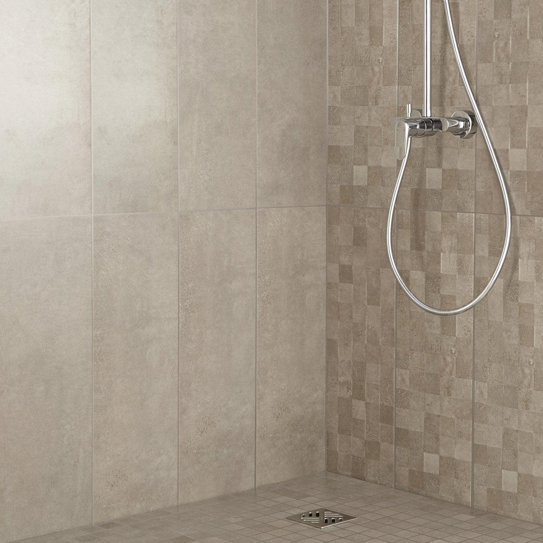 Fa ence mur taupe d cor vision cube x cm - Prix carrelage adhesif salle de bain ...