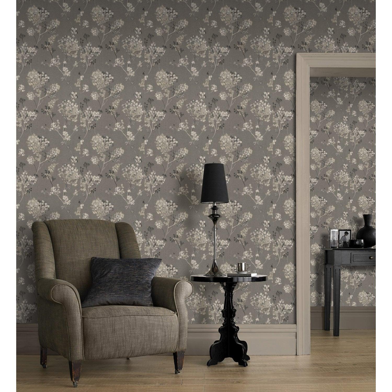 papier peint intiss florentine fleur claires sur fond gris leroy merlin. Black Bedroom Furniture Sets. Home Design Ideas