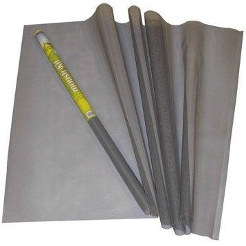 Rouleau de toile de moustiquaire en fibre de verre grise for Moustiquaire fenetre leroy merlin