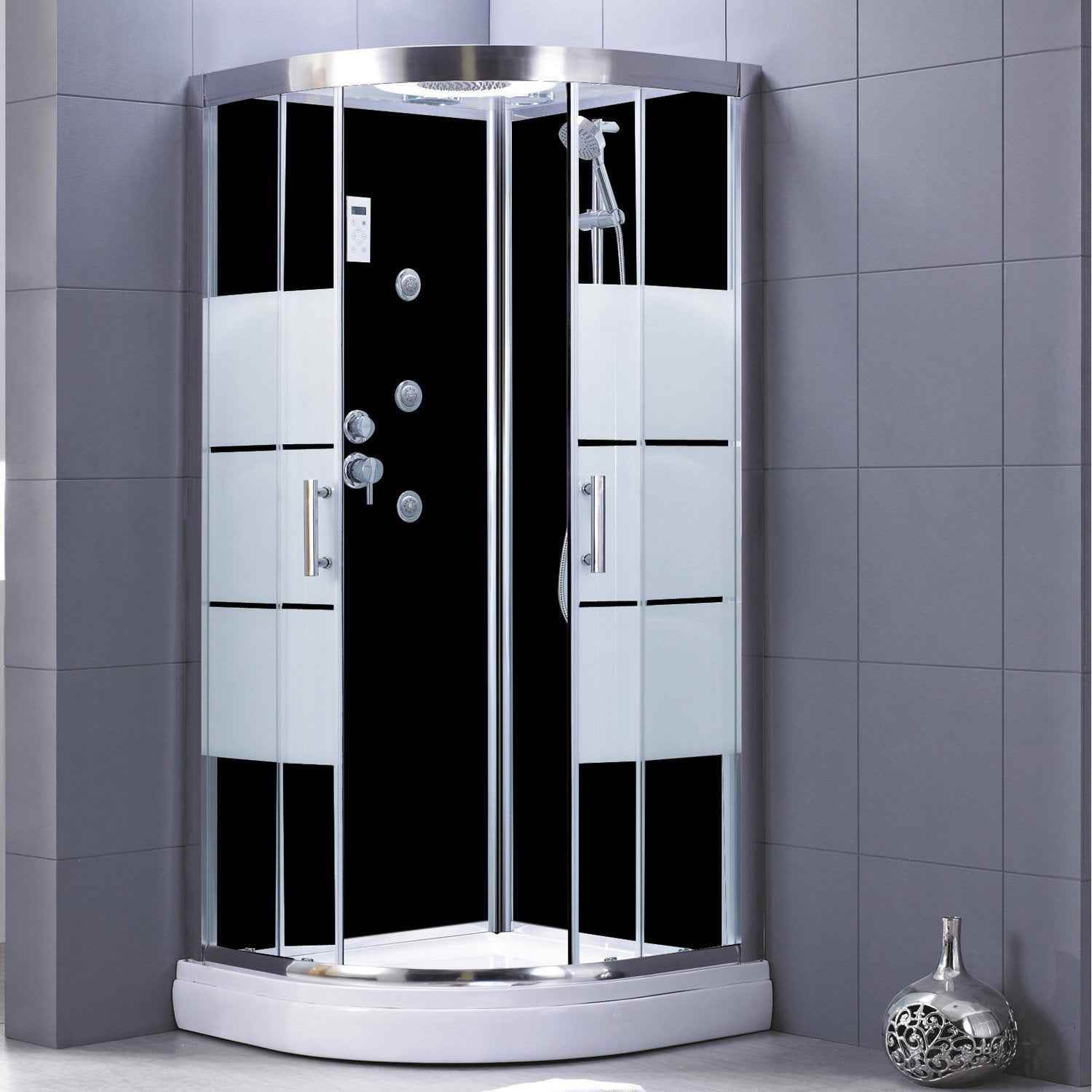 cabine de douche 1 4 de cercle 90x90 cm optima2 noire. Black Bedroom Furniture Sets. Home Design Ideas