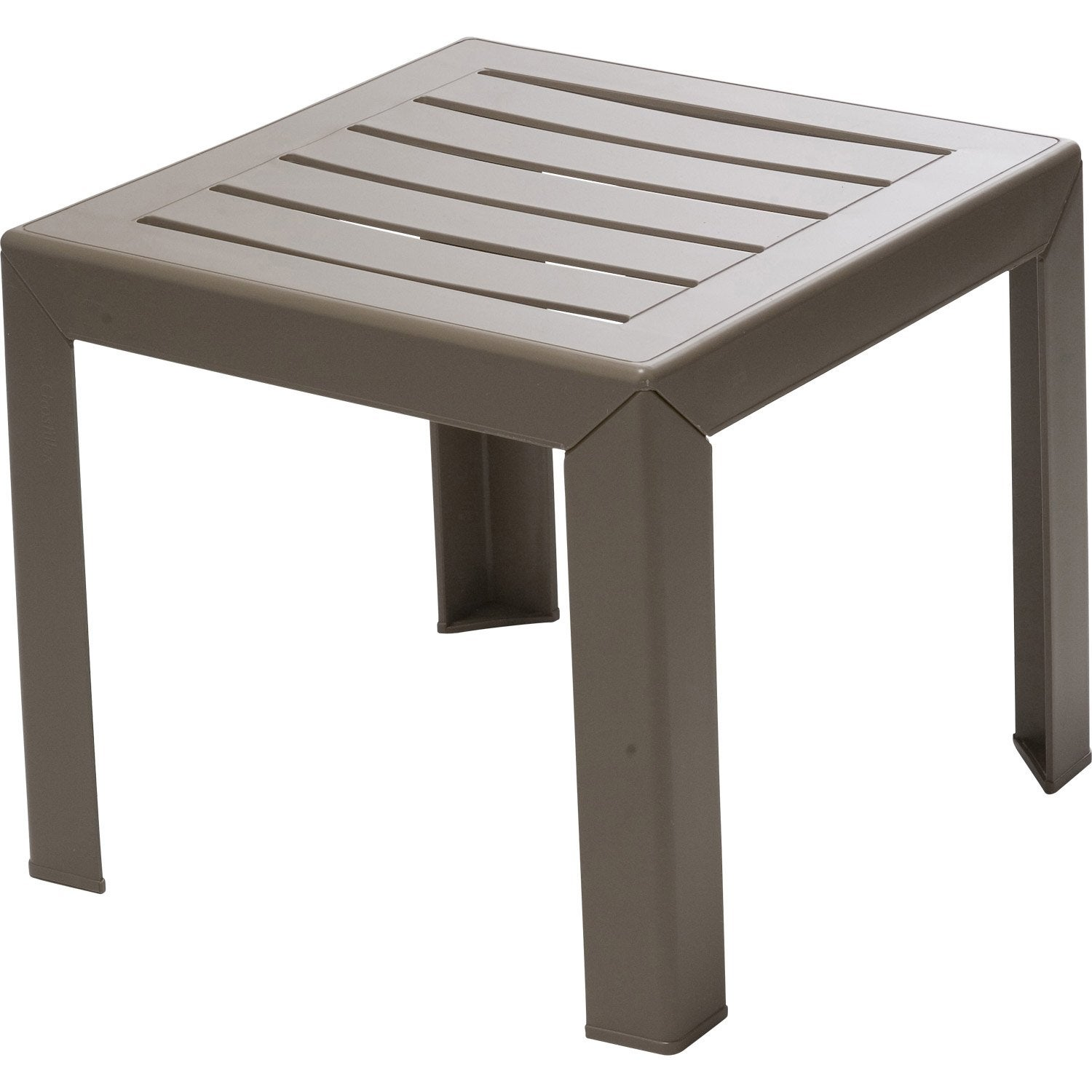 Table basse grosfillex miami carr e taupe leroy merlin for Table basse carree