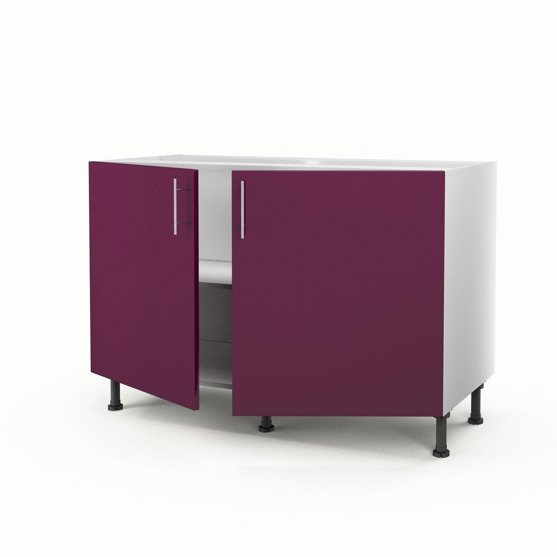 Meuble de cuisine sous vier violet 2 portes rio h70xl120xp56 cm leroy merlin Meuble cuisine sous evier