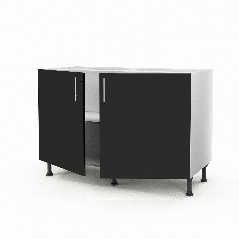 meuble de cuisine sous vier noir 2 portes rio x x cm leroy merlin. Black Bedroom Furniture Sets. Home Design Ideas