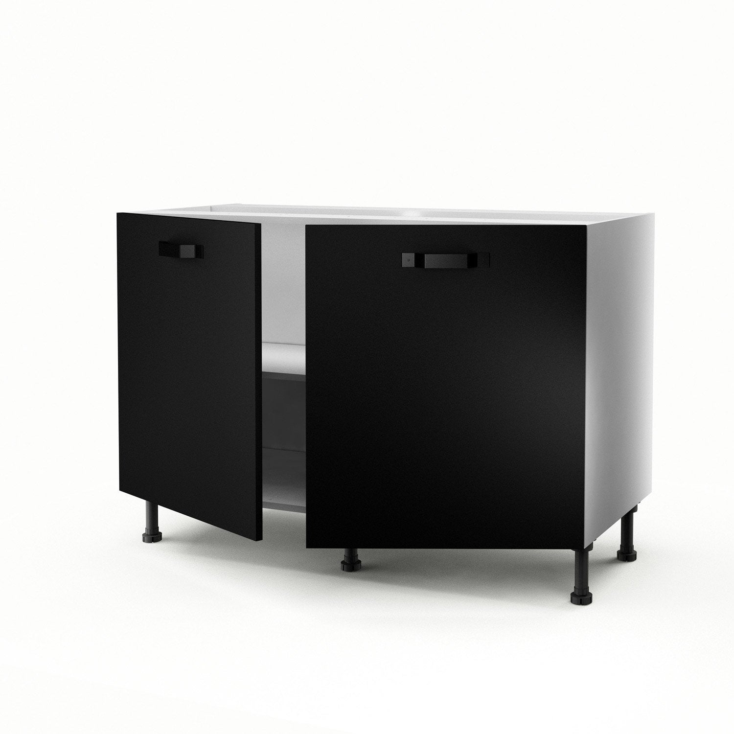 meuble de cuisine sous vier noir 2 portes mat edition x x cm leroy merlin. Black Bedroom Furniture Sets. Home Design Ideas