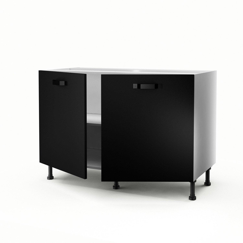 Meuble de cuisine sous vier noir 2 portes mat edition h70xl120xp56 cm ler - Leroy merlin meuble sous evier ...