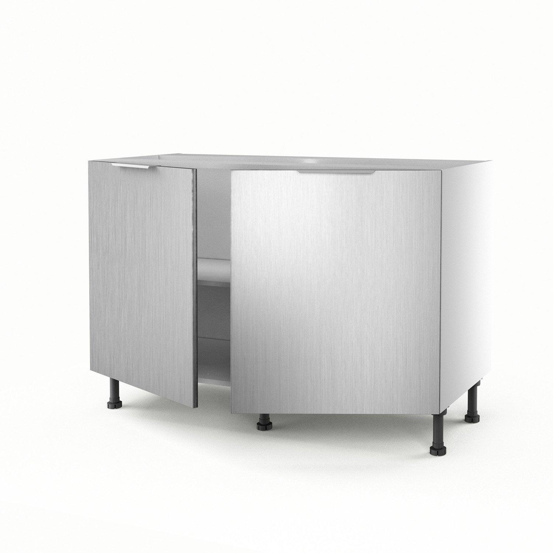 meuble de cuisine sous vier d cor aluminium 2 portes stil x x leroy merlin. Black Bedroom Furniture Sets. Home Design Ideas