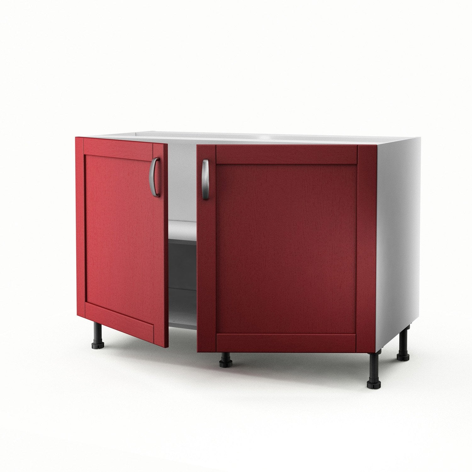 meuble de cuisine sous evier rouge 2 portes rubis h70xl120xp56. Black Bedroom Furniture Sets. Home Design Ideas