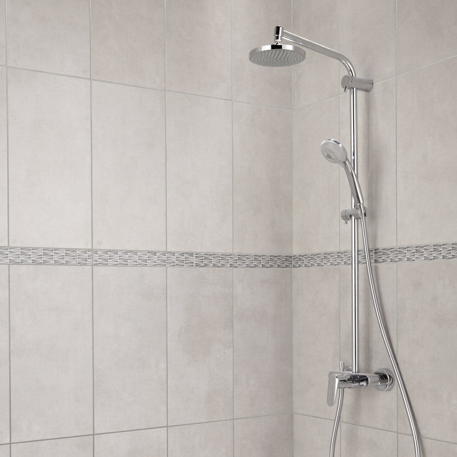 Fa ence mur gris smart x cm leroy merlin for Faience salle de bain gris clair