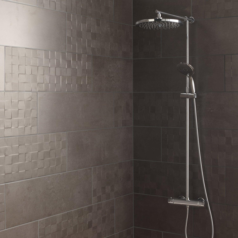 Faïence mur gris foncé, Vision l.25 x L.75 cm | Leroy Merlin