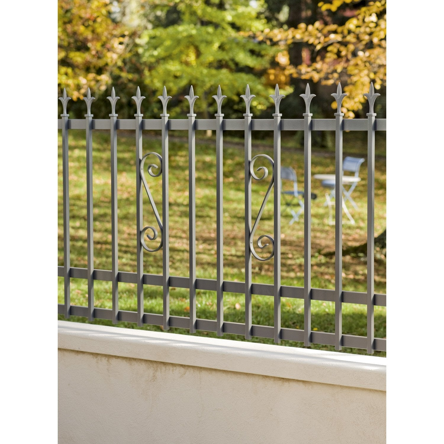 Cl ture aluminium tradi gris ral 7024 x cm for Leroy merlin cloture jardin