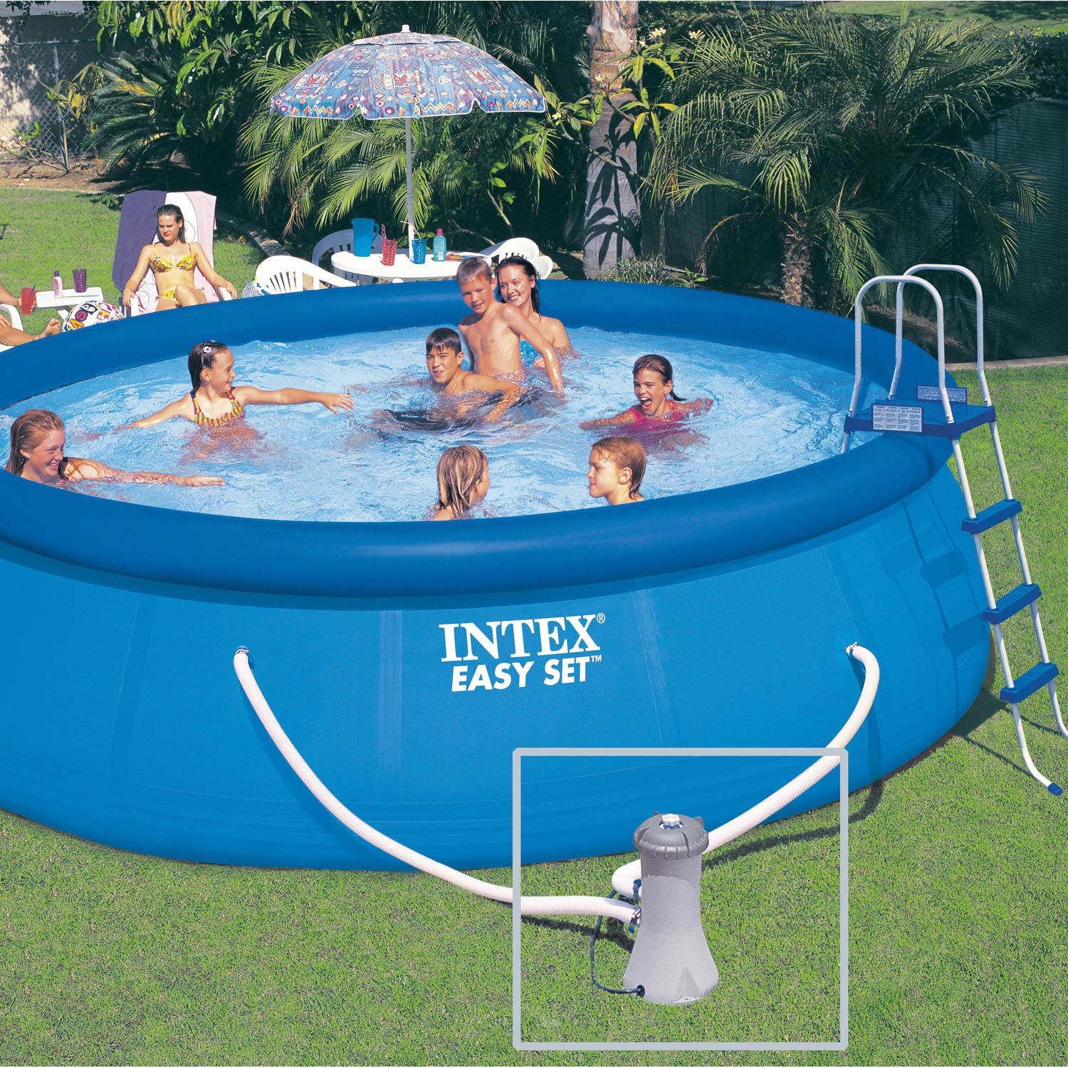 Piscine hors sol autoportante gonflable easy set intex for Video x piscine