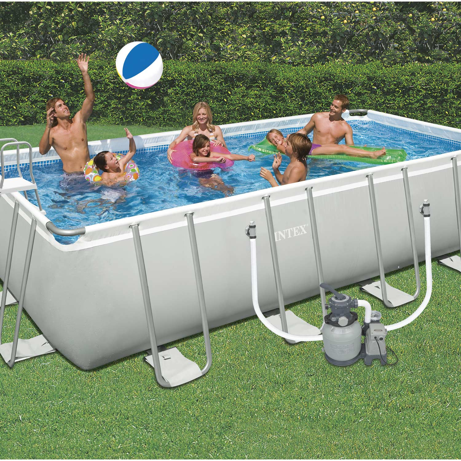 Piscine hors sol autoportante tubulaire intex l x l for Piscine gonflable rectangulaire