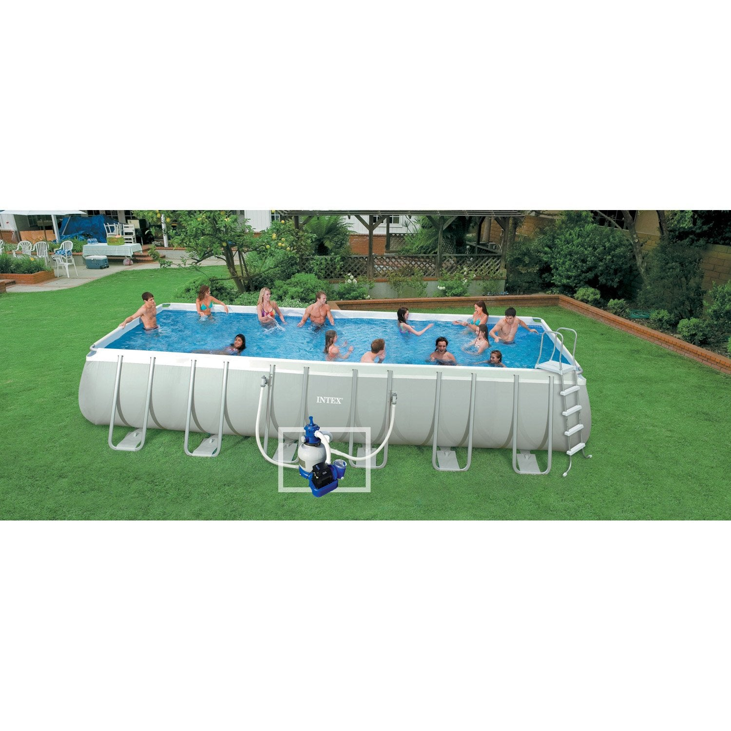 Piscine hors sol autoportante tubulaire intex l x l - Habillage piscine hors sol intex ...