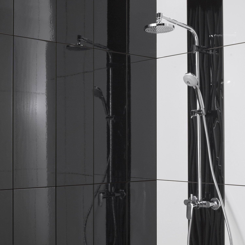 fa ence mur noir brillant relief x cm leroy merlin. Black Bedroom Furniture Sets. Home Design Ideas