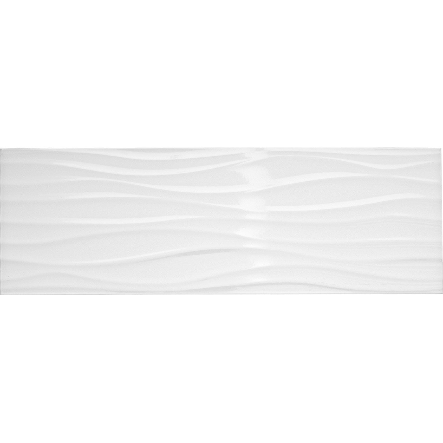 Fa ence mur blanc brillant d cor relief wave x for Carrelage faience blanc