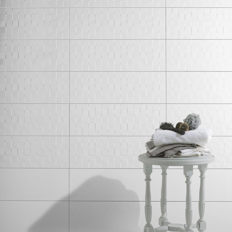 Bien Pose Salle De Bain Leroy Merlin #3: Faience-mur-blanc-brillant-decor-relief-cube-l-25-x-l-75-cm.jpg