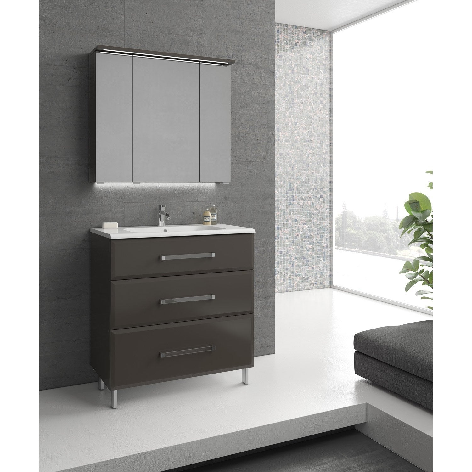 deco salle de bain gris et aubergine. Black Bedroom Furniture Sets. Home Design Ideas