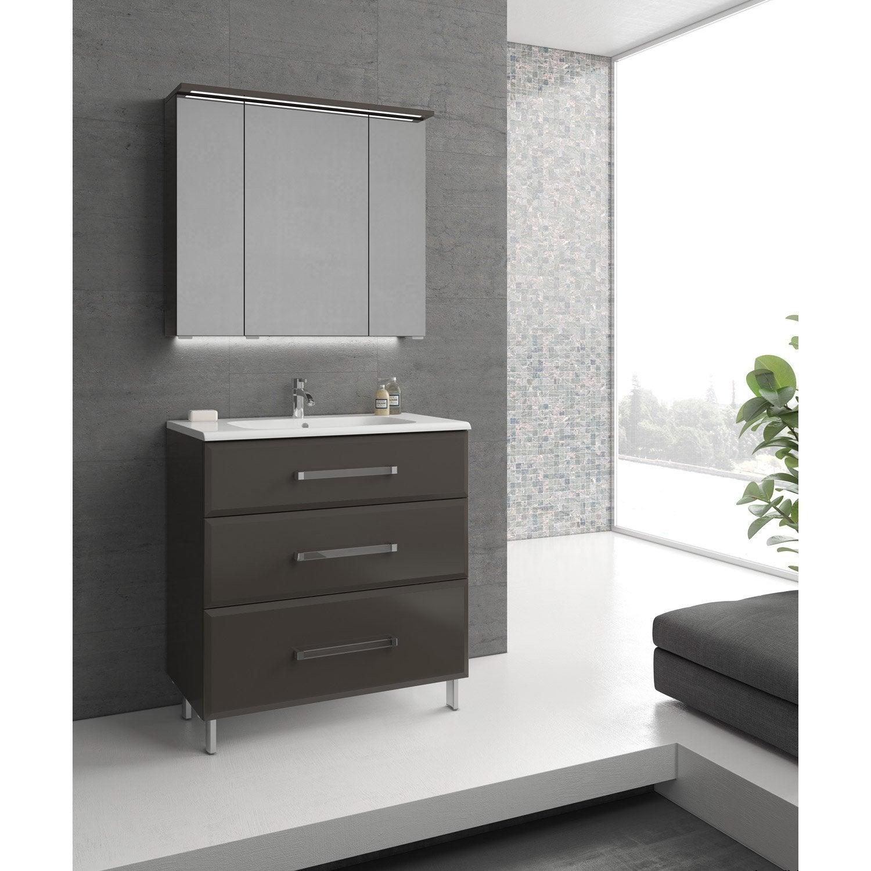 Meuble de salle de bains de 80 99 gris argent opale for Peinture cuisine et salle de bain leroy merlin