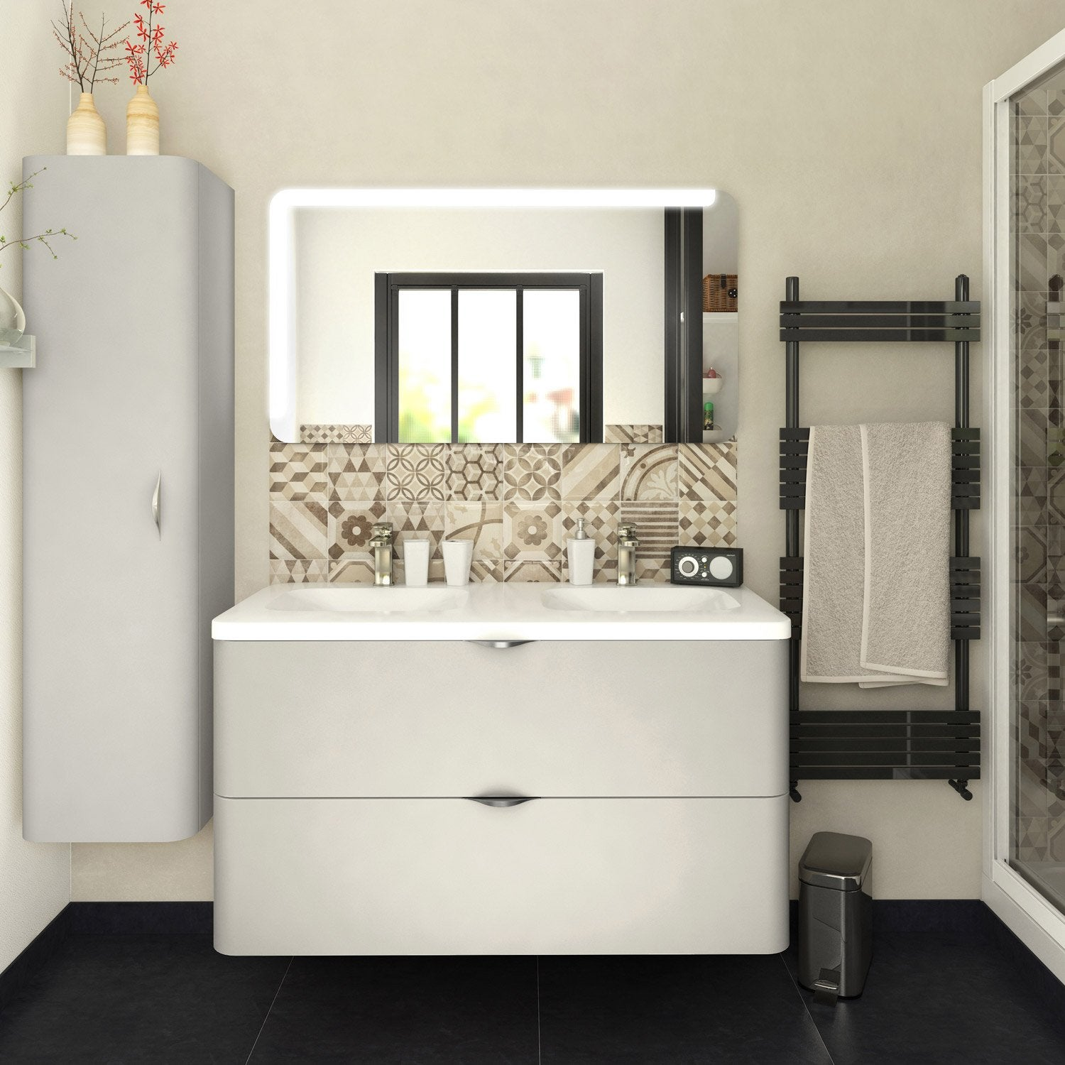 meuble de salle de bains de 100 119 blanc beige naturels neo shine leroy merlin. Black Bedroom Furniture Sets. Home Design Ideas