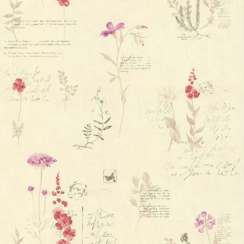 Papier peint botanique beige rouge papier cuisine et bain for Papier peint cuisine rouge