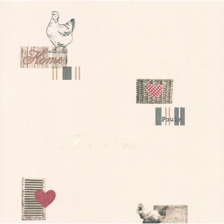Papier peint home sweet home beige rouge papier cuisine for Papier peint cuisine leroy merlin