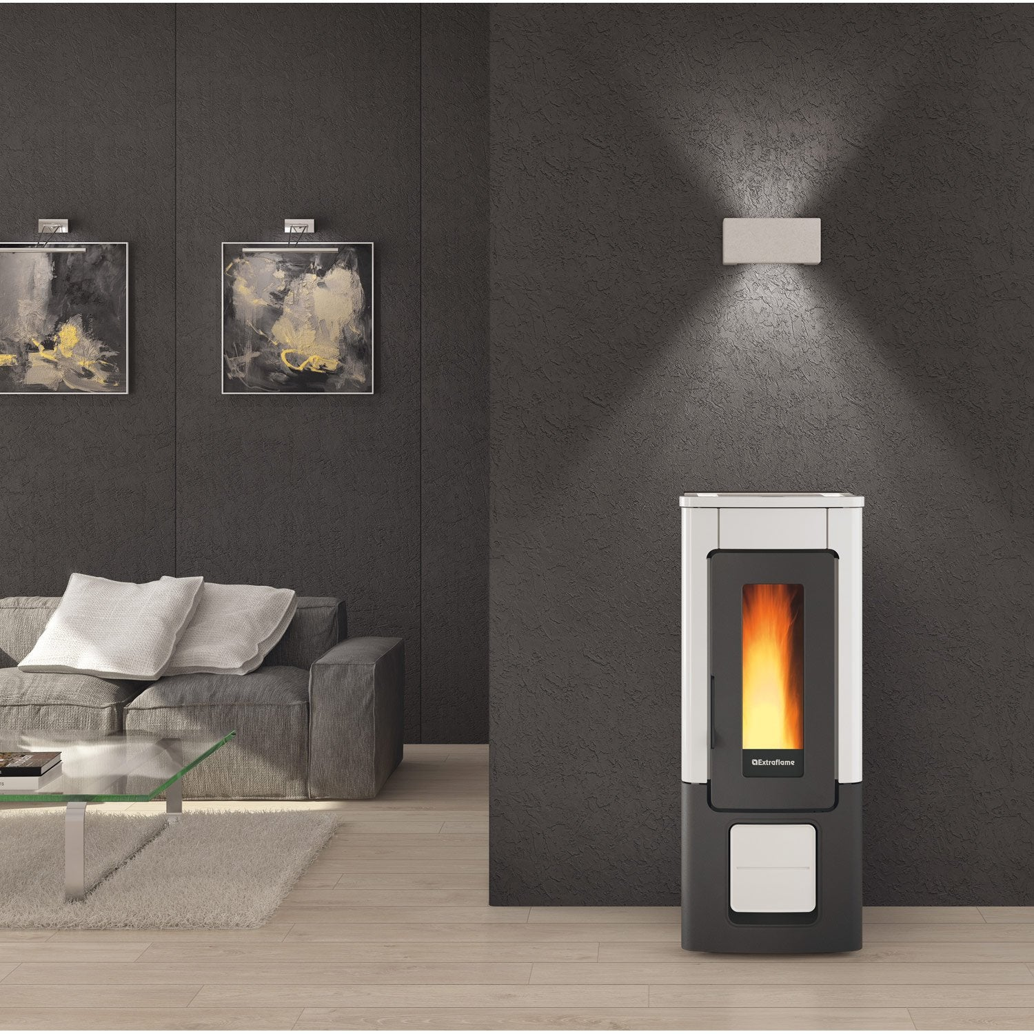po le granul s extraflame wendy blanc 10 kw leroy merlin. Black Bedroom Furniture Sets. Home Design Ideas