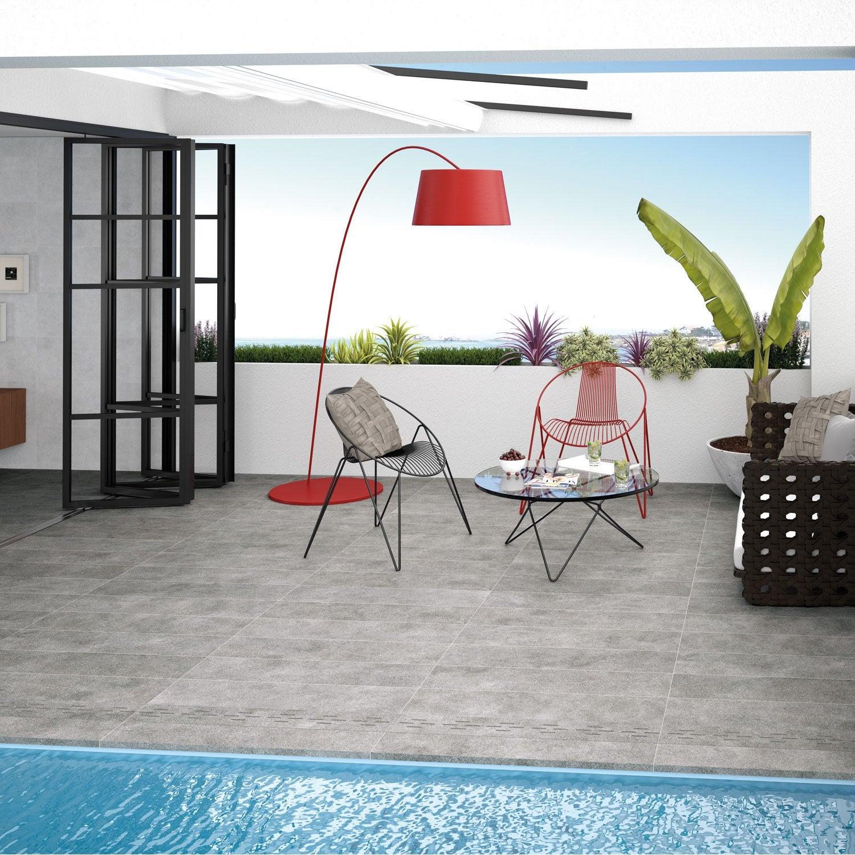 dalle gr s c rame pleine masse mineral gris x cm x mm leroy merlin. Black Bedroom Furniture Sets. Home Design Ideas