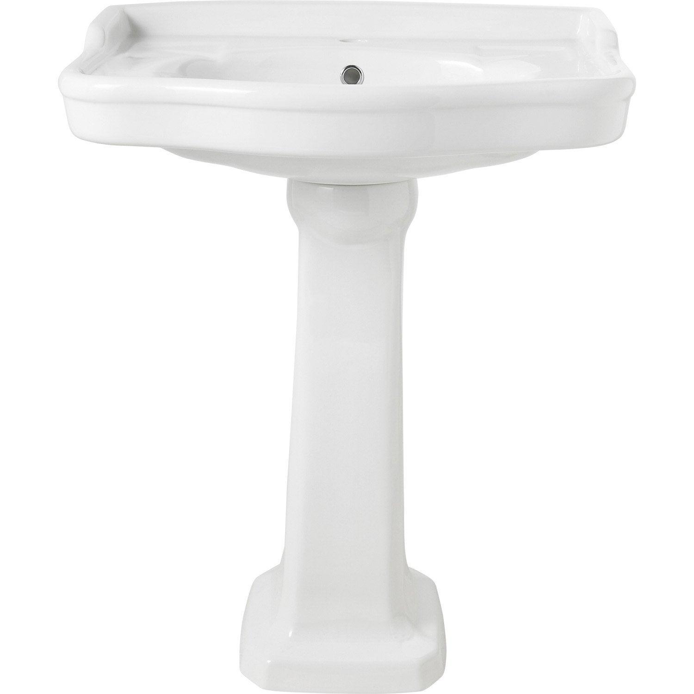 Colonne pour lavabo en c ramique blanc victoria leroy merlin - Lavabo ceramique blanc ...